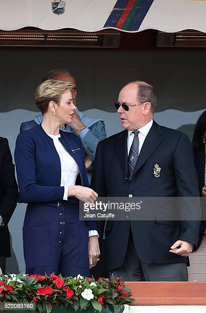 Prince Albert II of Monaco and Princess Charlene of Monaco attend the final of the 2016 MonteCarlo Rolex Masters at MonteCarlo Country Club on April...