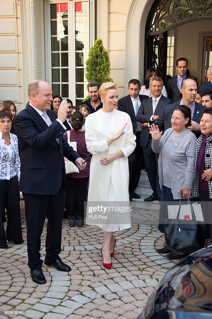 Prince Albert II of Monaco and Princess Charlene of Monaco attend the Parcels Distribution At Monaco Red Cross Headquarters on November 17, 2016 in Monaco, Monaco.