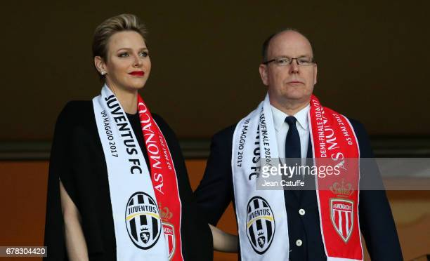 Prince Albert II of Monaco and Princess Charlene of Monaco attend the UEFA Champions League semi final first leg match between AS Monaco and Juventus...