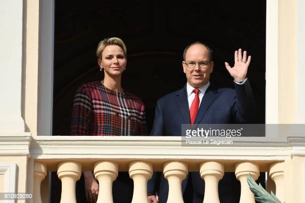 Prince Albert II of Monaco and Princess Charlene of Monaco attend the celebration of the SainteDevote on January 27 2018 in Monaco Monaco