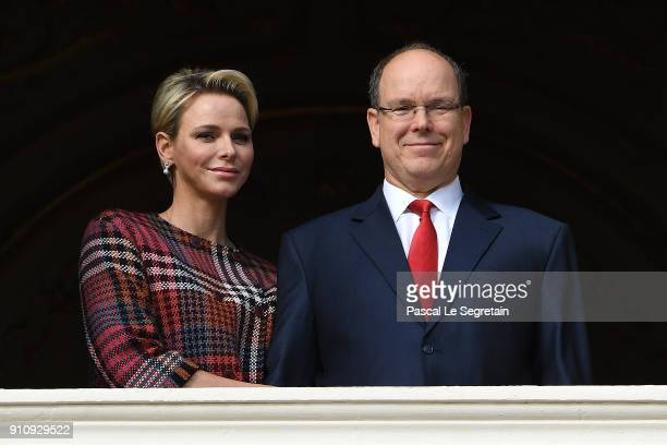 Prince Albert II of Monaco and Princess Charlene of Monaco attend the celebration of the SainteDevote on January 27 2018 in Monaco Monaco