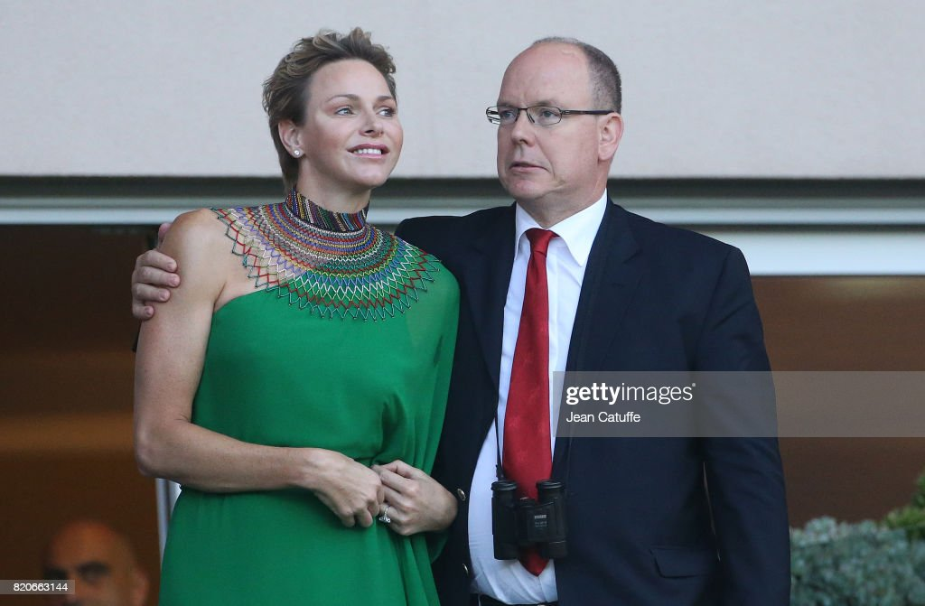 Prince Albert II of Monaco and Princess Charlene of Monaco cheer for Wayde van Niekerk of South Africa during his 400m at the IAAF Diamond League Meeting Herculis 2017 on July 21, 2017 in Monaco, Monaco.