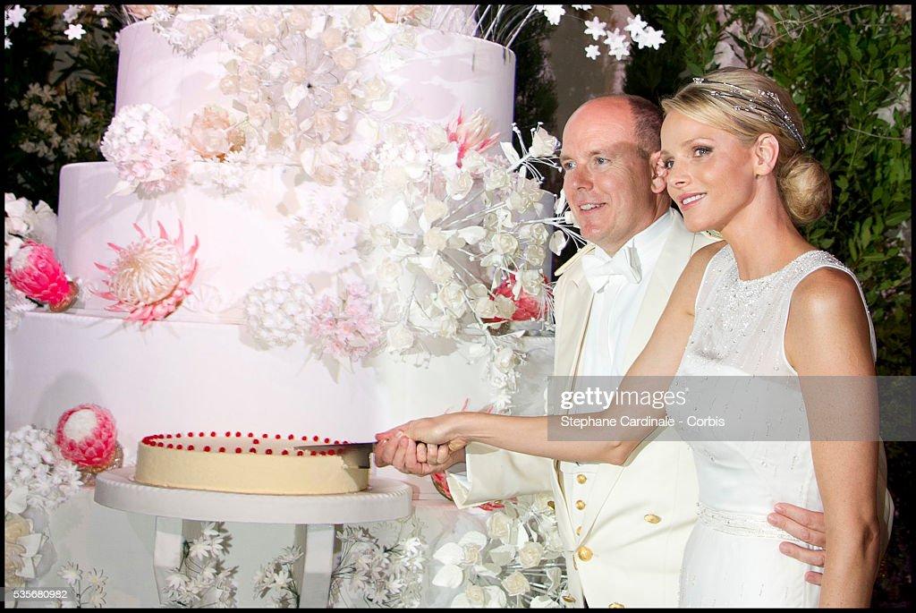 Prince Albert II Of Monaco And Princess Charlene Cut The Wedding Cake During