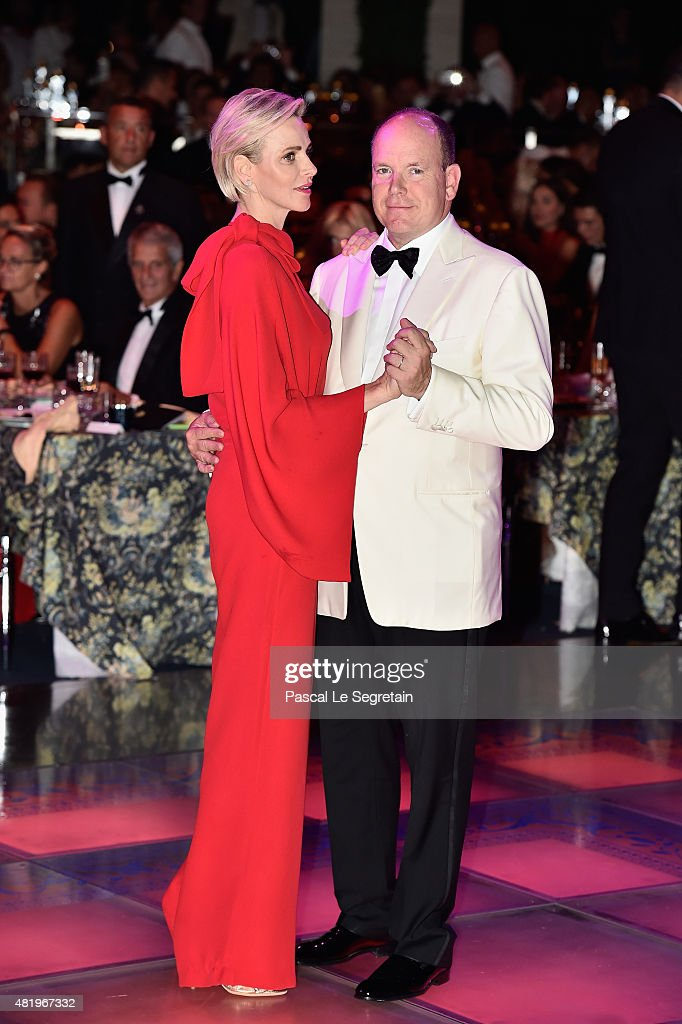 Prince Albert II of Monaco and Princess Charlene of Monaco danse during the Monaco Red Cross Gala on July 25, 2015 in Monte-Carlo, Monaco.