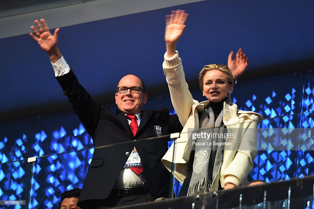 Prince Albert II of Monaco and Princess Charlene of Monaco enjoy the atmosphere during the Opening Ceremony of the Sochi 2014 Winter Olympics at Fisht Olympic Stadium on February 7, 2014 in Sochi, Russia.