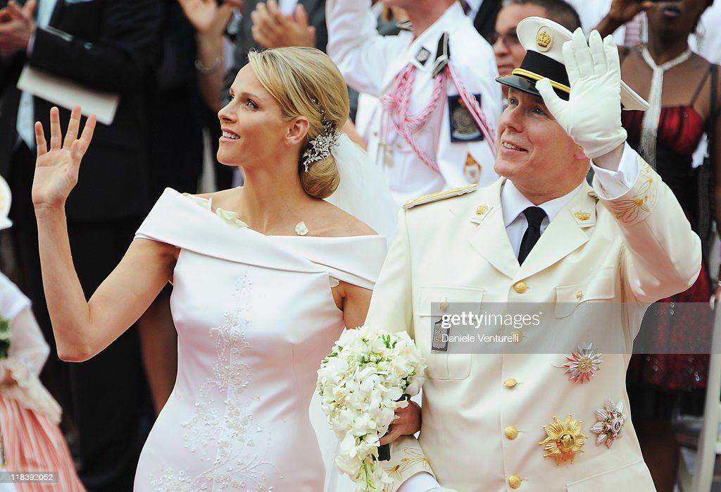 Prince Albert II of Monaco and Princess Charlene of Monaco leave the religious wedding ceremony at the Prince's Palace of Monaco on July 2, 2011 in Monaco.