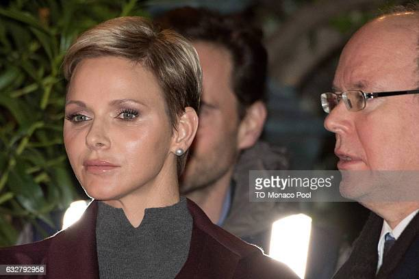 Prince Albert II of Monaco and Princess Charlene of Monaco leave the Cathedral of Monaco after a mass during the SainteDevote ceremony on January 26...
