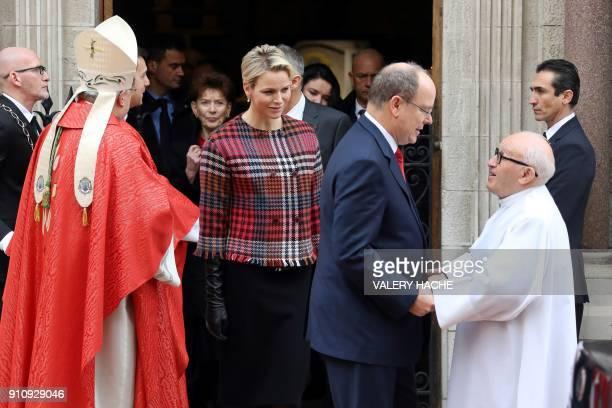 Prince Albert II of Monaco and Princess Charlene of Monaco leave the Monaco Cathedral during Sainte Devote Celebrations in Monaco on January 27 2018...