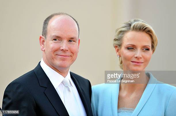 Prince Albert II of Monaco and Princess Charlene of Monaco look on after the civil ceremony of the Royal Wedding of Prince Albert II of Monaco to...