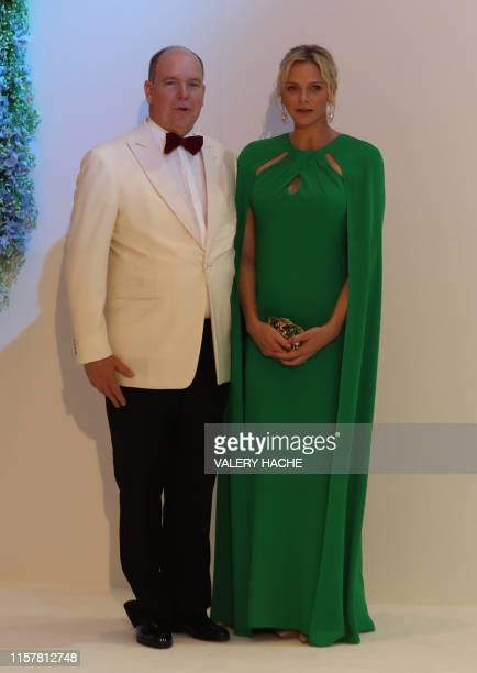 Prince Albert II of Monaco and Princess Charlene of Monaco pose prior to attend the 71th annual Red Cross Gala on July 26 in Monaco Created in 1948...