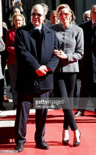 Prince Albert II of Monaco and Princess Charlene of Monaco pose during the inauguration of the new Luxury complex the 'One Monte Carlo' in Monaco...