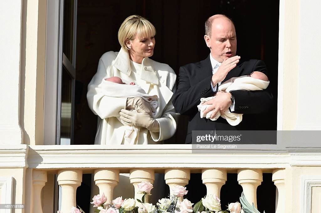 Prince Albert II of Monaco and Princess Charlene of Monaco pose with Prince Jacques and Princess Gabriella on the Balcony of the Monaco Palace on January 7, 2015 in Monaco, Monaco.