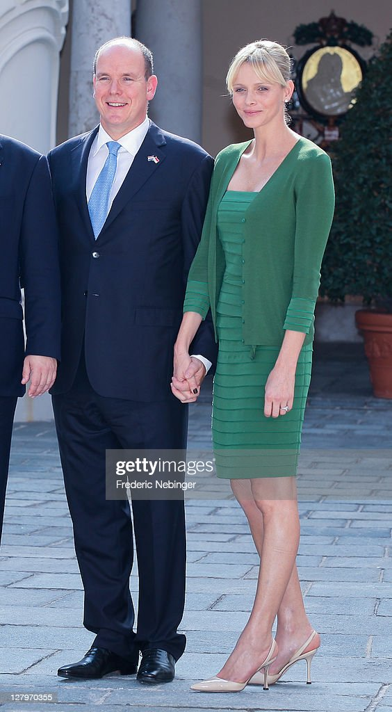 Prince Albert II of Monaco and Princess Charlene of Monaco posing for pictures during the state visit of president Of Croatia Ivo Josipovic At Monaco Palace at Monaco Palace on October 4, 2011 in Monaco, Monaco.