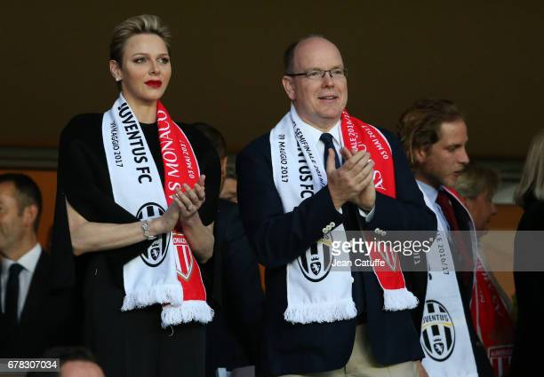 Prince Albert II of Monaco and Princess Charlene of Monaco, with Andrea Casiraghi attend the UEFA Champions League semi final first leg match between...