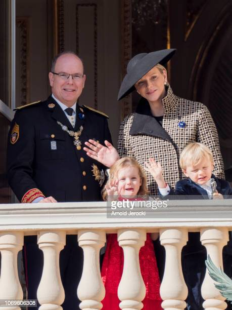 Prince Albert II of Monaco and Princess Charlene of Monaco with their children Prince Jacques of Monaco and Princess Gabriella of Monaco attend...