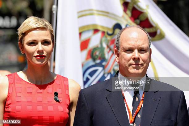 Prince Albert II of Monaco and Princess Charlene on the grid during the Monaco Formula One Grand Prix at Circuit de Monaco on May 28 2017 in...