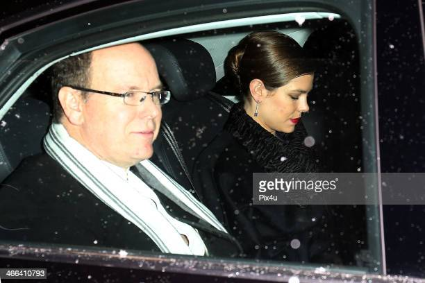 Prince Albert II of Monaco and Princess Charlotte of Monaco attend the wedding of Andrea Casiraghi And Tatiana Santo Domingo at the Rougemont church...