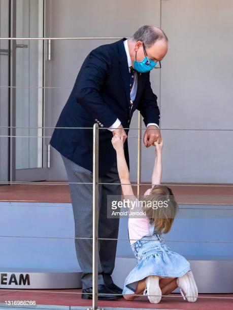 Prince Albert II of Monaco and Princess Gabriella attends the ABB FIA Formula E Monaco E-Prix on May 08, 2021 in Monaco, Monaco.