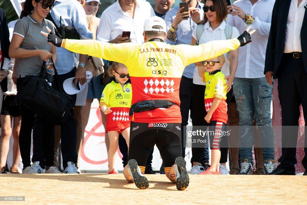 Prince Albert II of Monaco and Princess Gabriella of Monaco and Prince Jacques of Monaco attend the Riviera Water Bike Challenge 2018 on June 17, 2018 in Monaco, Monaco.