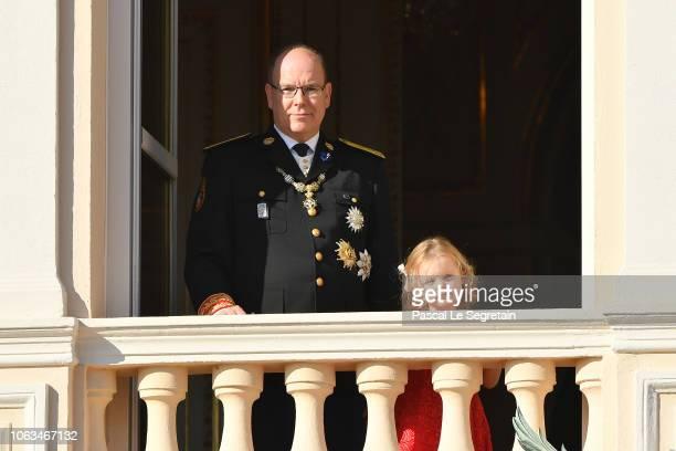 Prince Albert II of Monaco and Princess Gabriella of Monaco attend Monaco National Day Celebrations on November 19 2018 in MonteCarlo Monaco