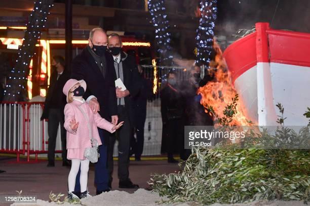 Prince Albert II of Monaco and Princess Gabriella of Monaco attend the ceremony of Sainte-Devote on January 26, 2021 in Monaco, Monaco.