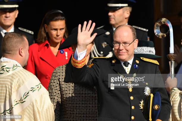 Prince Albert II of Monaco and Princess Stephanie of Monaco attend Monaco National Day Celebrations on November 19, 2018 in Monte-Carlo, Monaco.