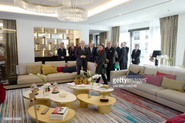 Prince Albert II of Monaco and Princess Stephanie of Monaco attend the inauguration of the 'Rainier III suite' in the Hotel de Paris in Monaco on...