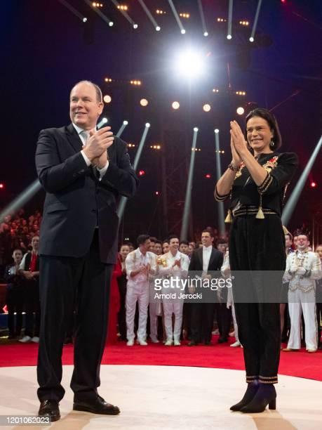 Prince Albert II of Monaco and Princess Stephanie of Monaco attends the 44th International Circus Festival on January 21 2020 in Monaco Monaco