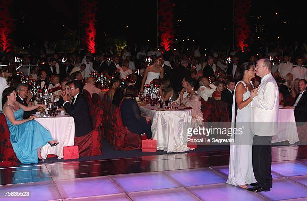 Prince Albert II of Monaco and Princess Stephanie of Monaco dance during the Red Cross ball on July 27 2007 in Monte Carlo France