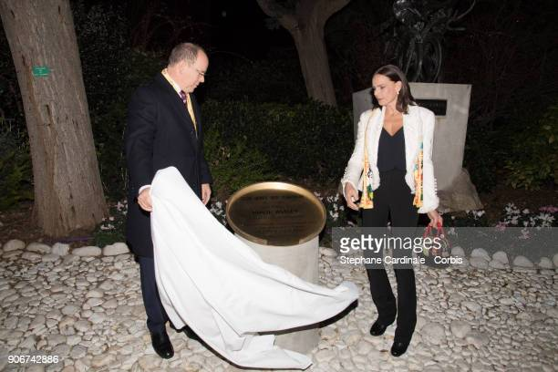 Prince Albert II of Monaco and Princess Stephanie of Monaco unveil plaque for 250 years of circus tribute to Philip Astley creator of modern circus...