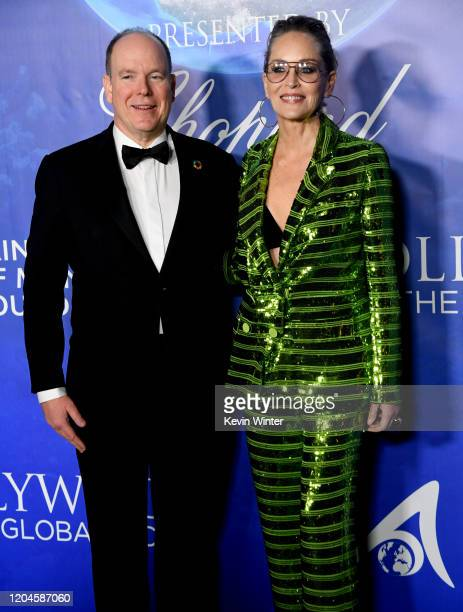 Prince Albert II of Monaco and Sharon Stone arrive at the 2020 Hollywood For The Global Ocean Gala Honoring HSH Prince Albert II Of Monaco at Palazzo...