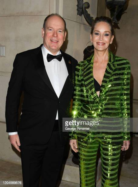 Prince Albert II of Monaco and Sharon Stone attend 2020 Hollywood For The Global Ocean Gala Honoring HSH Prince Albert II Of Monaco at Palazzo di...