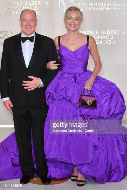 Prince Albert II of Monaco and Sharon Stone attend the photocall during the 5th Monte-Carlo Gala For Planetary Health on September 23, 2021 in...