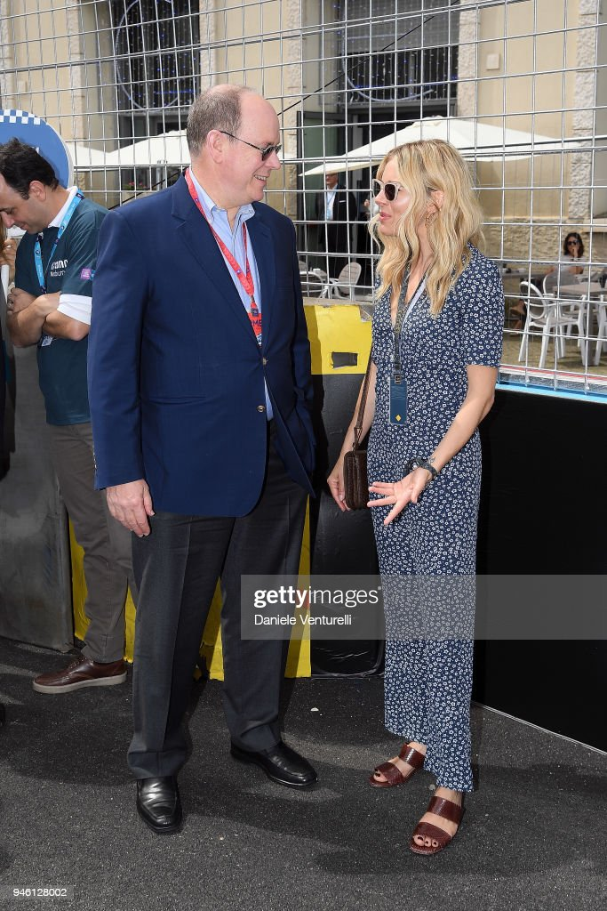 Prince Albert II of Monaco and Sienna Miller attend Rome E-Prix on April 14, 2018 in Rome, Italy.