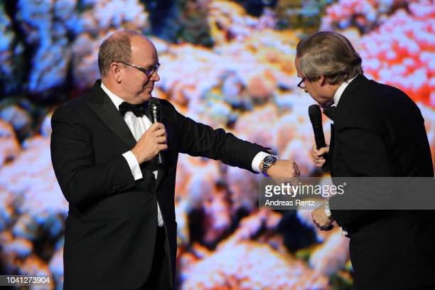 Prince Albert II of Monaco and Simon de Pury attend the Gala for the Global Ocean hosted by HSH Prince Albert II of Monaco at Opera of MonteCarlo on...