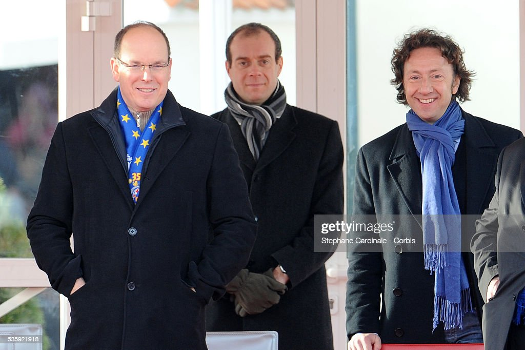 Prince Albert II of Monaco and Stephane Bern attend the Grand Parade, on Place du Palais, for the 35th Monte-Carlo International Circus Festival in Monaco.