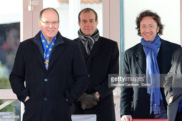 Prince Albert II of Monaco and Stephane Bern attend the Grand Parade on Place du Palais for the 35th MonteCarlo International Circus Festival in...