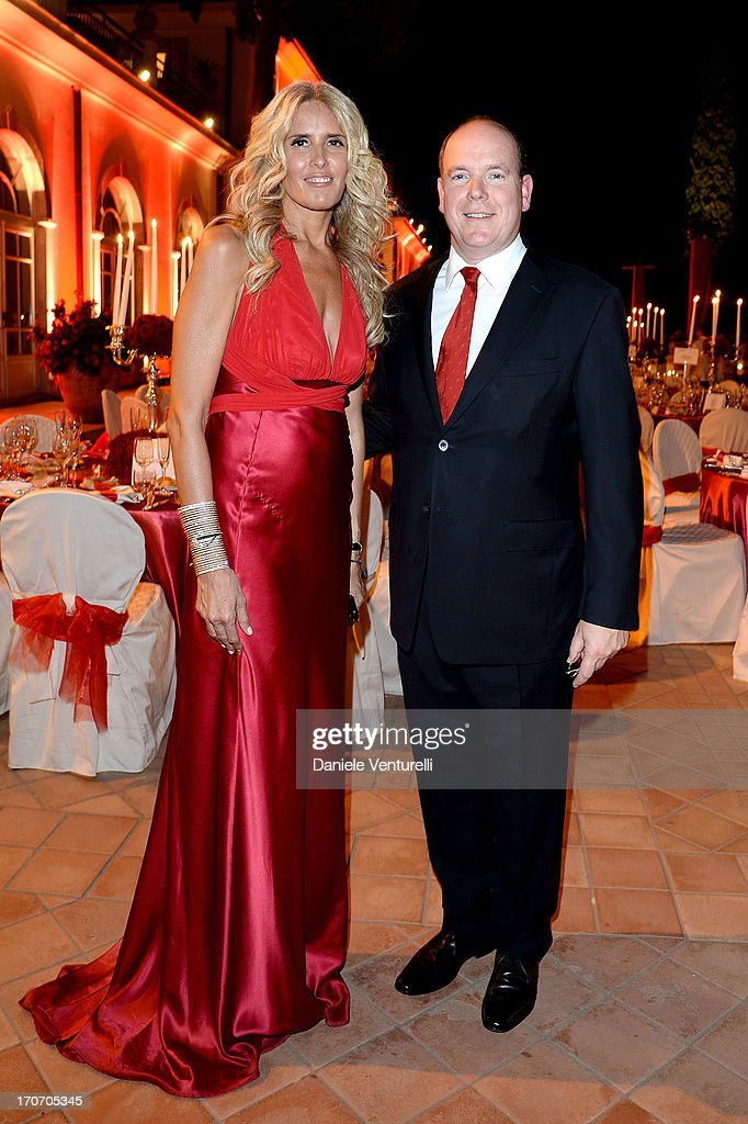Prince Albert II of Monaco and Tiziana Rocca attend Taormina Filmfest and Prince Albert II Of Monaco Foundation Gala Dinner at on June 16, 2013 in Taormina, Italy.