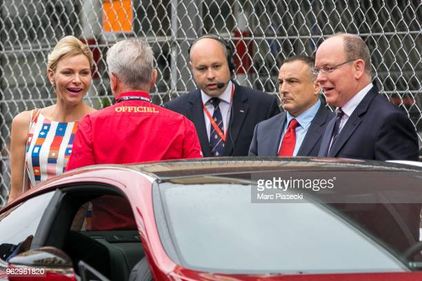 Prince Albert II of Monaco and wife Princess Charlene of Monaco are seen during the Monaco Formula One Grand Prix at Circuit de Monaco on May 27 2018...