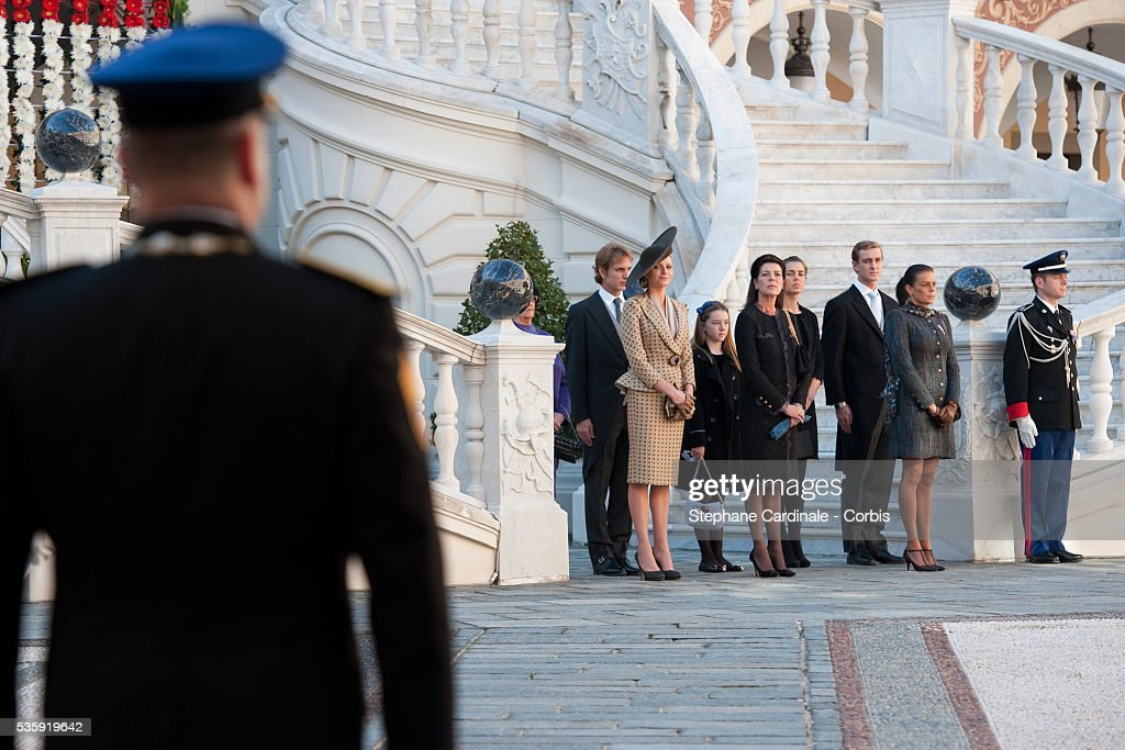 Prince Albert II of Monaco, Andrea Casiraghi, Charlene Wittstock, Princess Alexandra of Hanover, Princess Caroline of Hanover, Charlotte Casiraghi, Pierre Casiraghi and Princess Stephanie of Monaco attend the Award Ceremony for badges of rank and medals for employees at the Prince's Palace as part of Monaco's National Day celebrations in Monaco