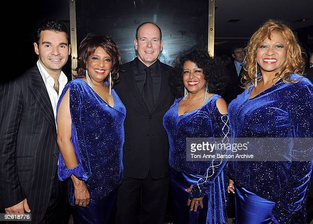 Prince Albert II of Monaco Antoine Chevanne CEO of Floirat Group and The Supremes at the Black Legend opening party on October 29 2009 in MonteCarlo...