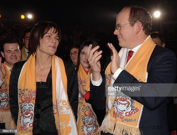 Prince Albert II of Monaco applauds as his sister Princess Stephanie of Monaco looks at him during the first day of the 30th International Circus...