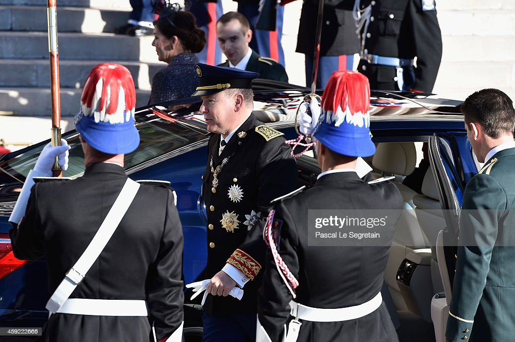 Prince Albert II of Monaco arrives at the Cathedral of Monaco during the official ceremonies for the Monaco National Day at Cathedrale Notre-Dame-Immaculee de Monaco on November 19, 2014 in Monaco, Monaco.