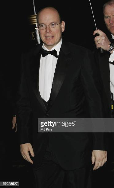 Prince Albert II of Monaco arrives at the ChildLine & Mission Enfance Royal gala dinner at Banqueting House on March 8, 2006 in London, England. The...