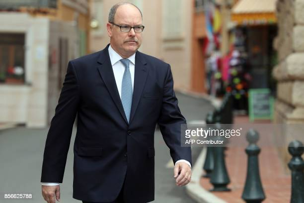 Prince Albert II of Monaco arrives at the Courthouse to attend with magistrates and lawyers a session for the start of the working year of Monaco's...