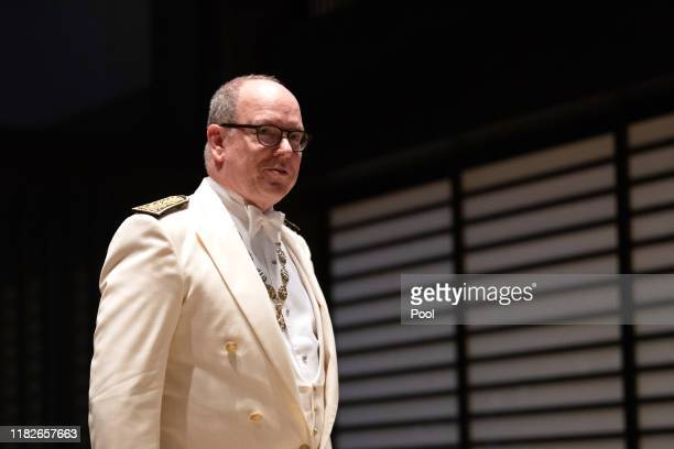 Prince Albert II of Monaco arrives at the Imperial Palace for the Court Banquets after the Ceremony of the Enthronement of Emperor Naruhito on...