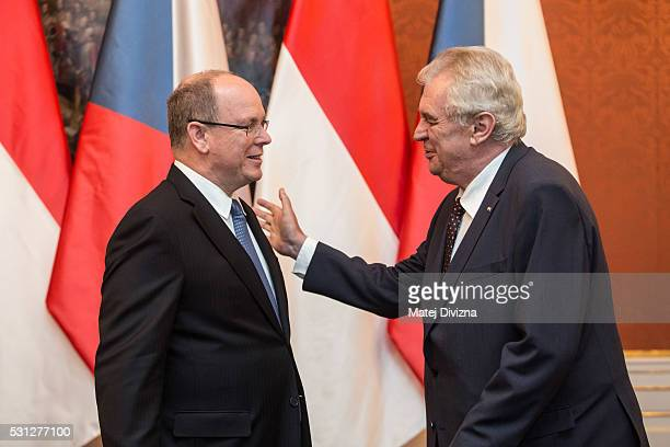Prince Albert II of Monaco arrives at the Prague Castle to meet with Czech President Milos Zeman on May 13 2016 in Prague Czech Republic Prince...