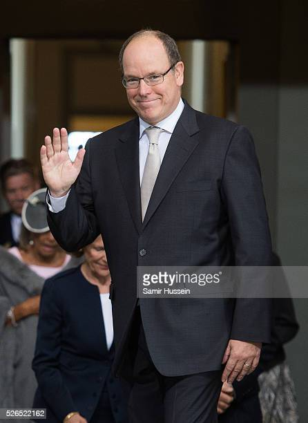 Prince Albert II of Monaco arrives at the Royal Palace to attend Te Deum Thanksgiving Service to celebrate the 70th birthday of King Carl Gustaf of...