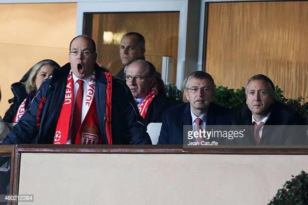 Prince Albert II of Monaco AS Monaco President Dmitri Rybolovlev and AS Monaco vicePresident Vadim Vasilyev attend the UEFA Champions League Group C...