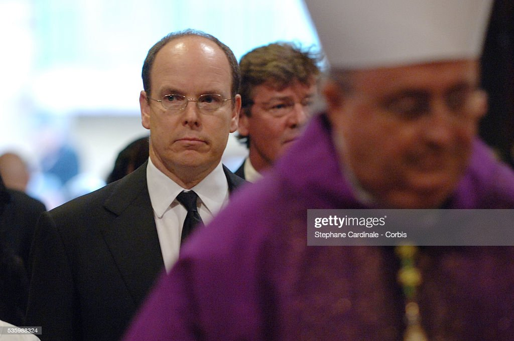 HSH Prince Albert II of Monaco at the mass marking the first anniversary of Prince Rainier III's death.